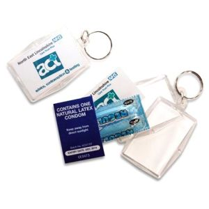 Promotional Printed Acrylic Condom Keyrings are business gifts