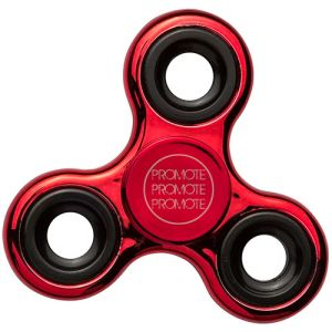 These promotional fidget spinners feature a stylish metallic finish.