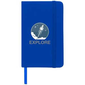 Promotional A6 Spectrum Soft Touch Notebooks with company logos