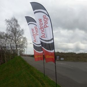 Promotional advert flags with corporate branding