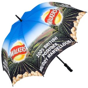 Printed umbrellas with campaign artwork