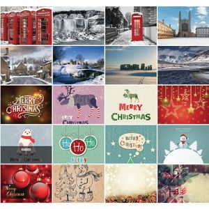 If you don't have your own artwork, choose from 50 stock designs for these promotional greetings cards.