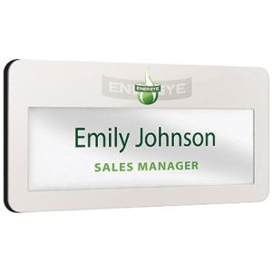Branded metal name badges for workplaces