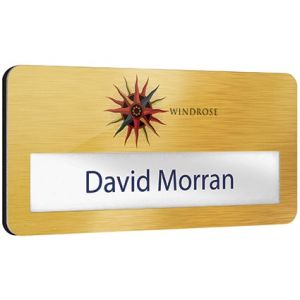 Promotional name badges with company logos