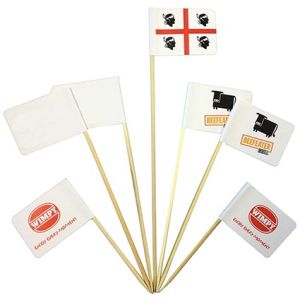 Promotional mini food flags printed with company logos
