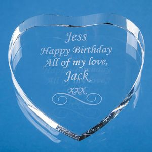 Personalised Optical Crystal Clear Heart Paperweights for Corporate Gifts