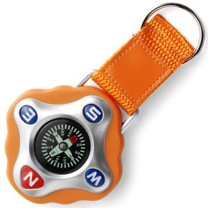 Promotional Plastic Compass Keyring in orange