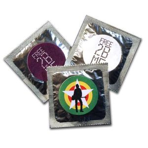 Promotional condoms printed with company logo