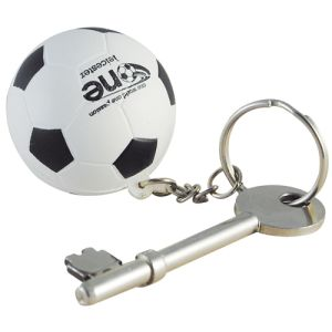 Stress Football Keyring in Off White/ Black
