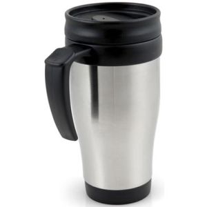 Promotional travel mug with corporate branding