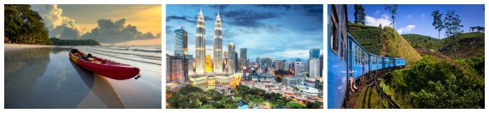 Asien Bilder zur besten Reisezeit. Kanu, Petronas Towers, Bahn