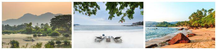 Drei Asien Bilder während der besten Reisezeit. Fluss, Liegestuhl, Strand
