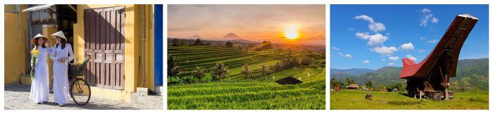 Bilder während der besten Reisezeit. Vietnamesin, Reisfeld, Hütte