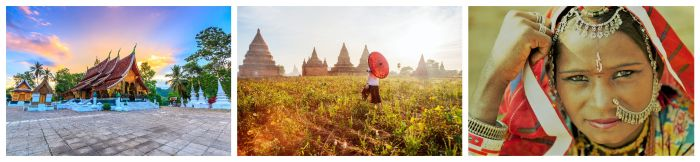 Drei Asien Bilder während der besten Reisezeit. Tempel, Sonnenschirm, Inderin