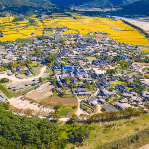 Kontrastreiches Südkorea ab Seoul: Aerial View of Hahoe Village