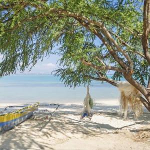 Unbekanntes Paradies Timor-Leste ab Dili: Beach near Dili with fisherboat