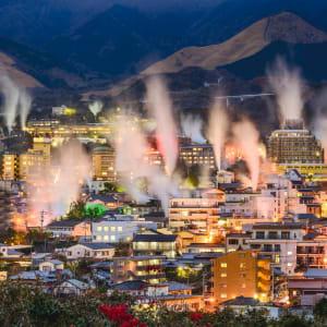 Les hauts lieux du Japon avec prolongation de Tokyo: Beppu hot spring bath houses and rising steam