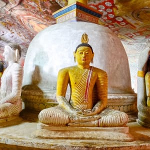 Östliches Sri Lanka im Sommer ab Colombo: Buddha Statues at Dambulla Cave Golden Temple