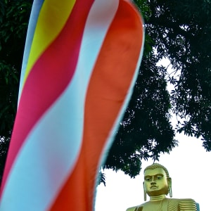 Sri Lanka Kompakt ab Colombo: Dambulla: Golden Buddha and Sri Lanka Flag