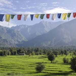 Au pied de l'Himalaya de Delhi: Dharamsala: Countryside with mountains
