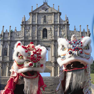 Macau Tour in Hong Kong: Dragons in front of Sao Paulo cathedrale