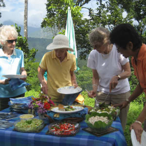 Glenburn Tea Estate in Darjeeling: food at a picnic