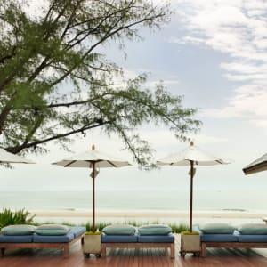 Let's Sea Hua Hin Al Fresco Resort:  Beachfront Terrace with Sunloungers and Umbrellas