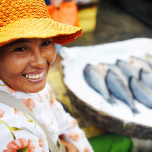 Von Angkor nach Saigon ab Siem Reap: Indigenous Cambodian woman selling fish in a market