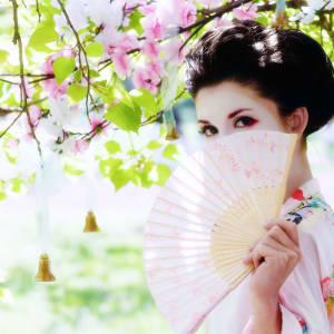 Contrastes du Japon de Tokyo: Japan: Japanese style portrait of young woman