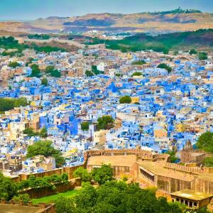 Höhepunkte Rajasthans ab Delhi: Jodhpur: City view from Mehrangarh Fort