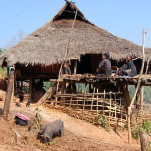 Tribus montagnardes de Kyaing Tong: Kyaing Tong: typical hilltribe hut