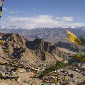Himachal Pradesh & Ladakh ab Delhi: Leh: aerial view with prayer flags