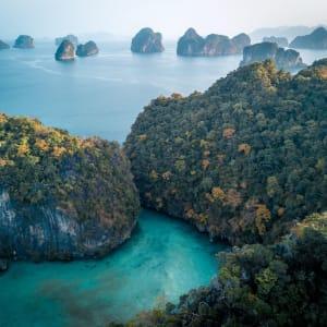 Six Senses Yao Noi in Ko Yao:  Iconic limestone karsts of Phang Nga Bay