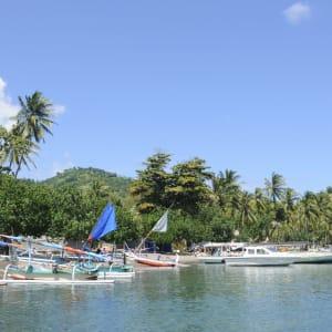 Kreuzfahrt durch die Inselwelt Indonesiens / Bali - Flores ab Südbali: Lombok boats at the beach