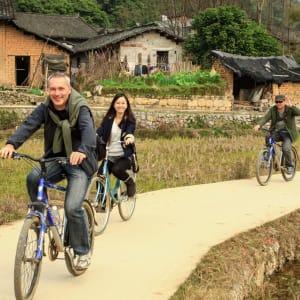 Velotour auf der Insel Chongming in Shanghai: Marcel Götz in China
