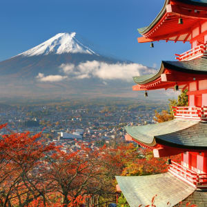 Contrastes du Japon de Tokyo: Mt. Fuji: viewed from behind Chureito Pagoda