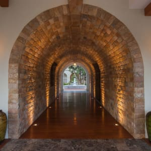 Sanctum Inle Resort in Inle Lake: arch lighted