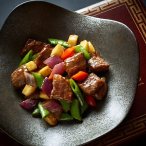 Hotel ICON in Hong Kong: Wok-fried M7 Wagyu Beef Cubes with Green Apple, Mustard and Wasabi