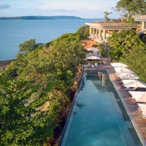 Six Senses Krabey Island à Sihanoukville & Îles: Aerial view of the main pool