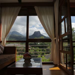 Popa Garden Resort in Bagan: Deluxe Balcony | Living room with View to mount Popa