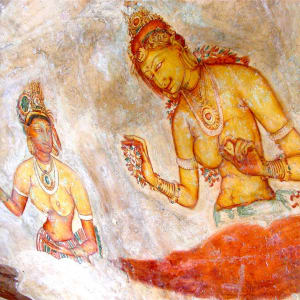 Sri Lanka für Geniesser ab Colombo: Sigiriya fresco wall painting
