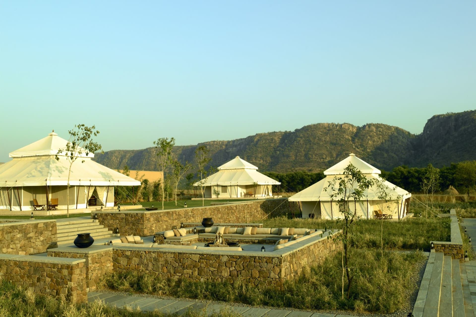exterior: tents and aravalli hills