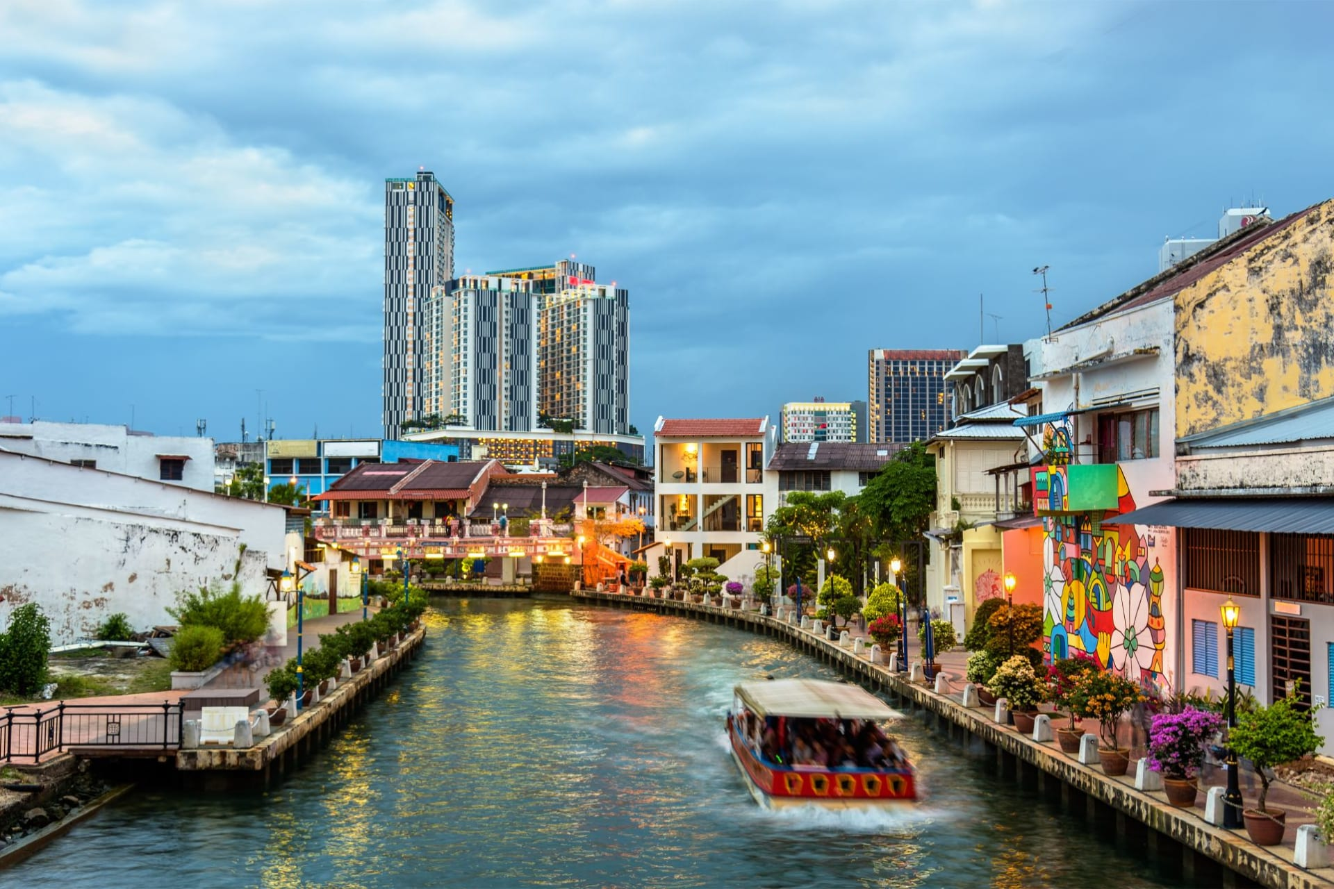 Malacca old town with river