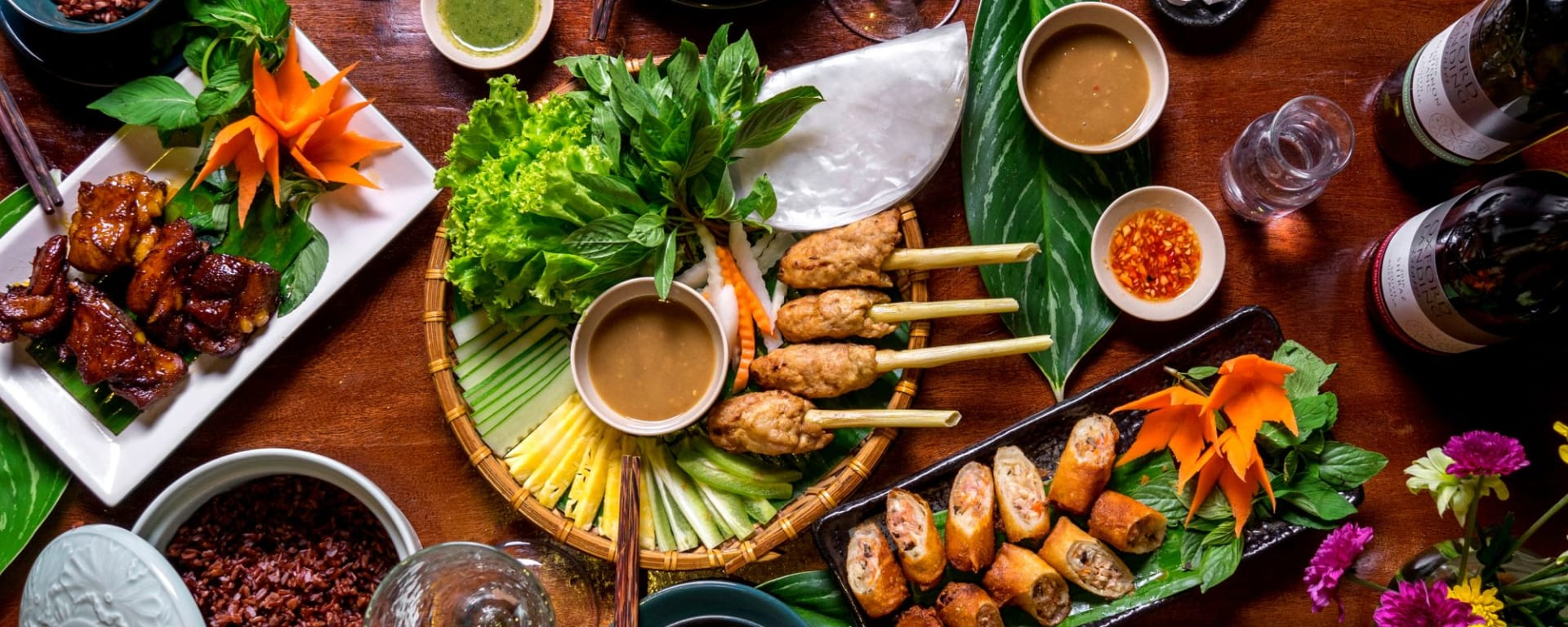 Vespa Streetfood Tour in Saigon: Vietnamese meatball, spring roll, pork roasted, brown rice