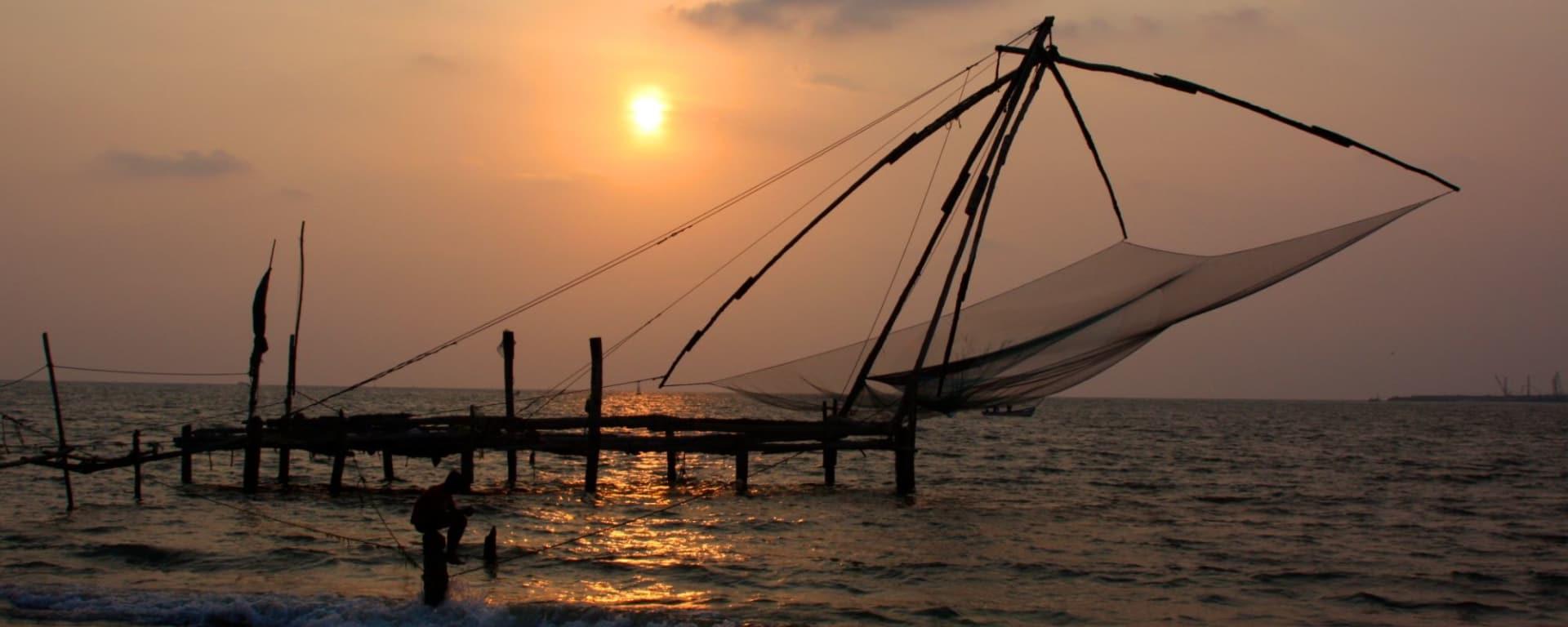 Balade à pied dans Fort Kochi: Kochi: Chinese fishing net