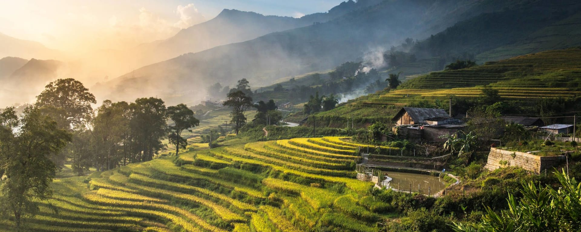 Aventure à Sapa - Hiking package de Hanoi: Terraced rice fields during sunset at Lao Cai Sapa