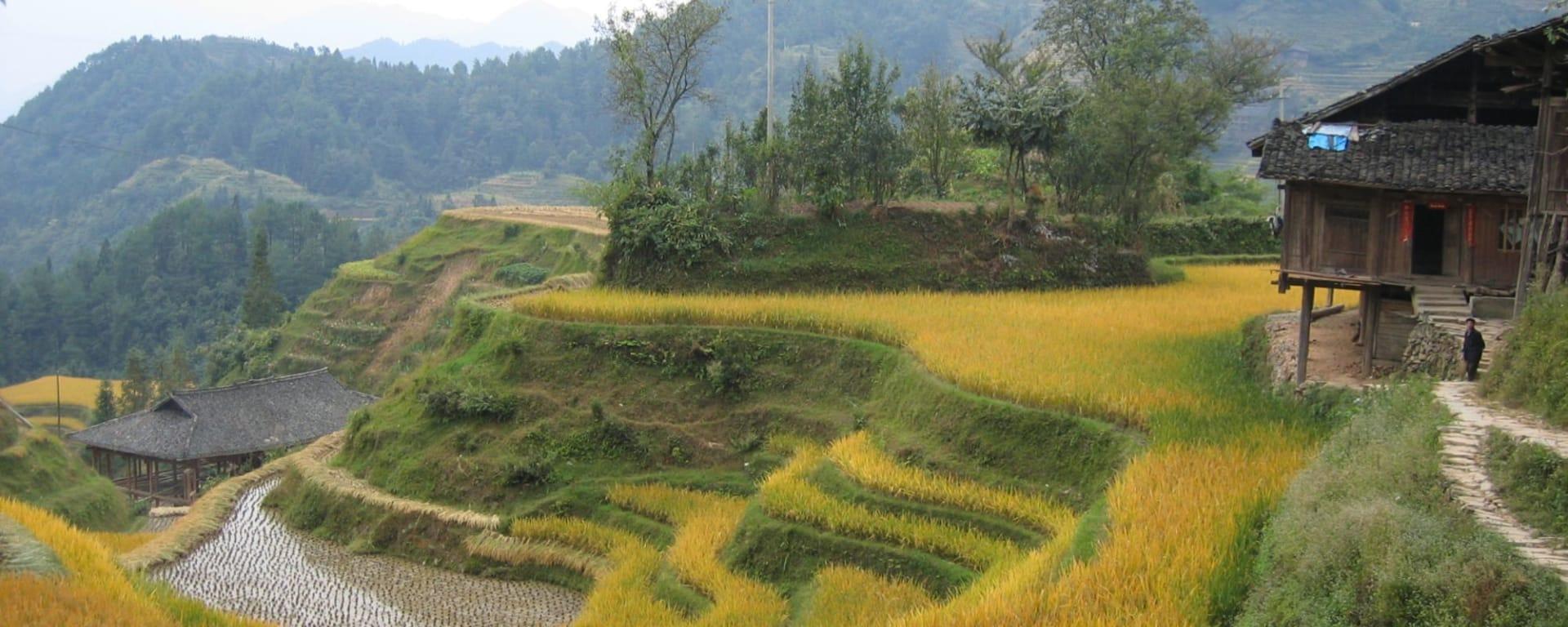 Rizières du cieletreliefs étranges de Guilin: Longsheng: small village