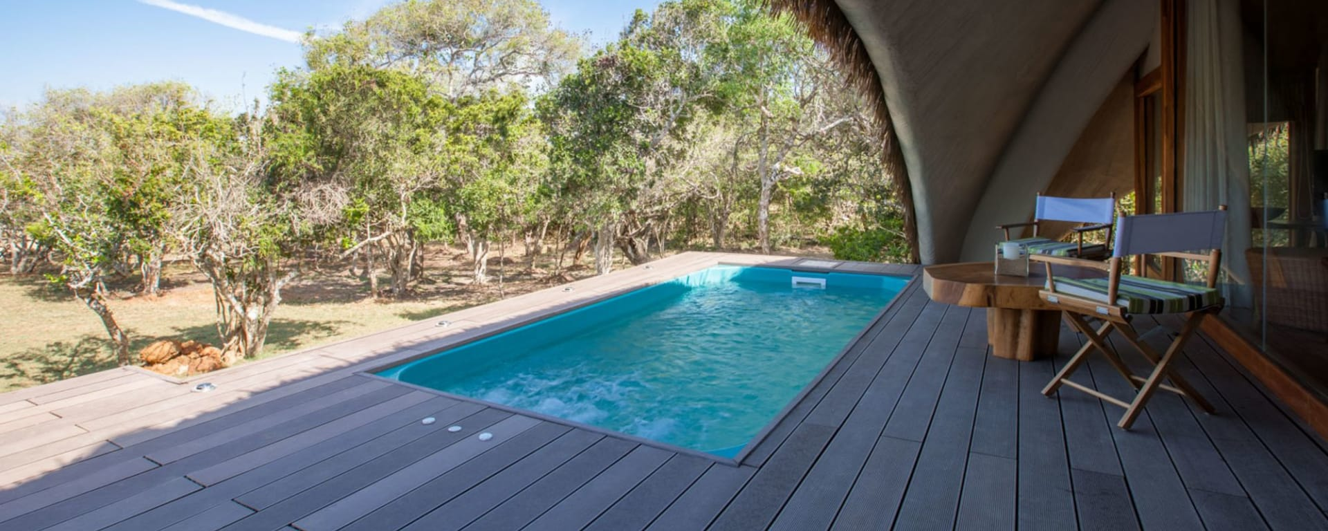 Yala Nationalpark Safari - Chena Huts - 3 Tage ab Colombo: room: Plunge Pool and Deck of Cabin