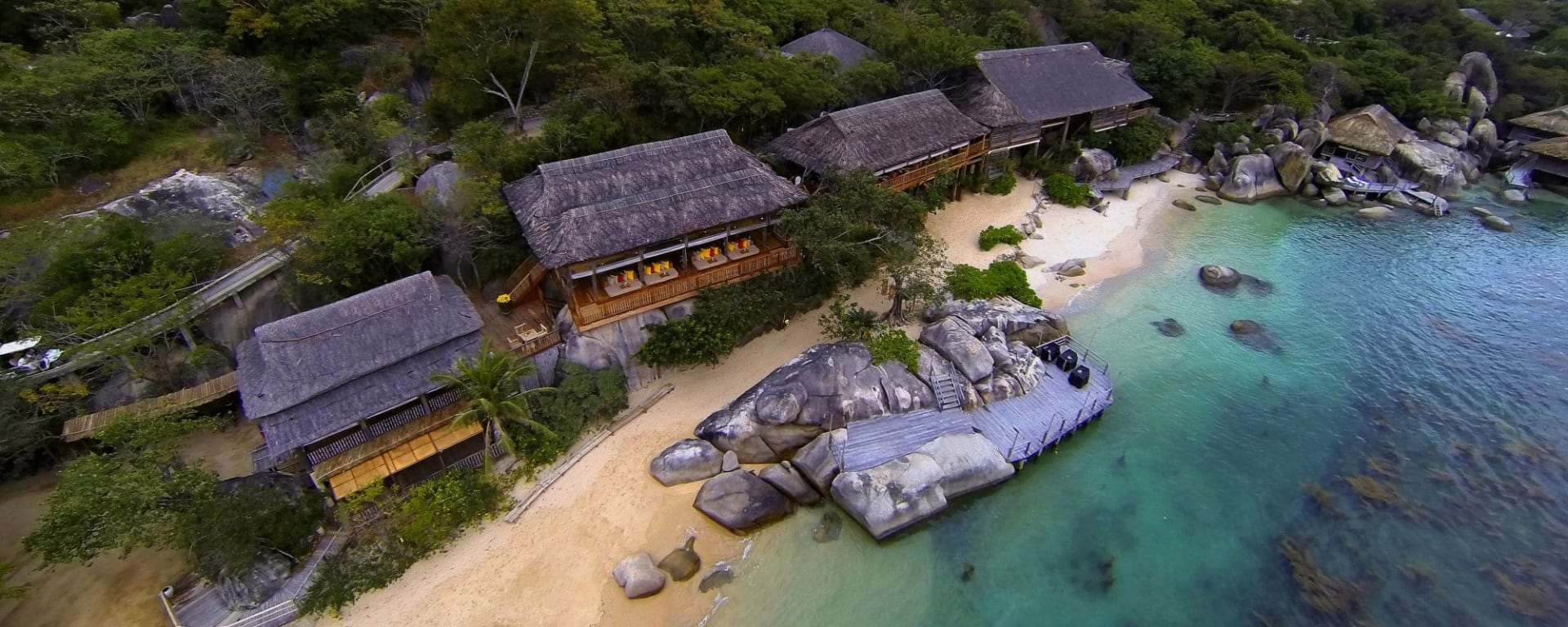 Six Senses Ninh Van Bay in Nha Trang: Aerial view of Dining by the Bay