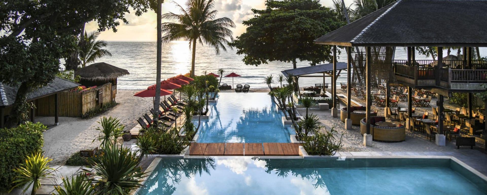 Anantara Rasananda Koh Phangan Villas in Ko Phangan: Pool View in the evening